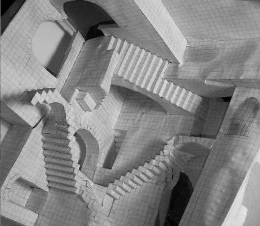Dan Efran's graph paper study model of Escher's print Relativity.